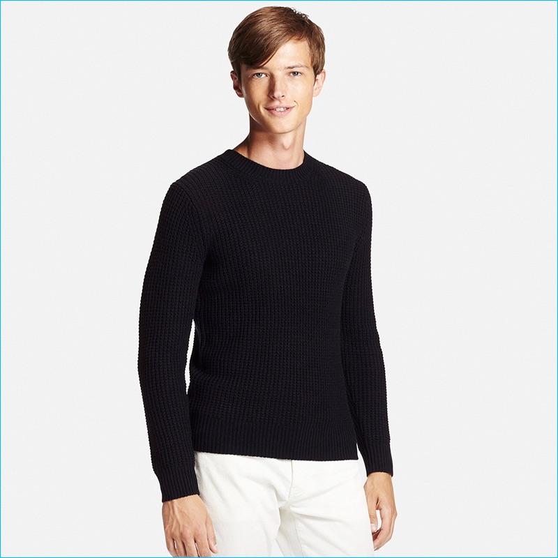 Uniqlo Men's Black Middle Gauge Waffle Crewneck Sweater