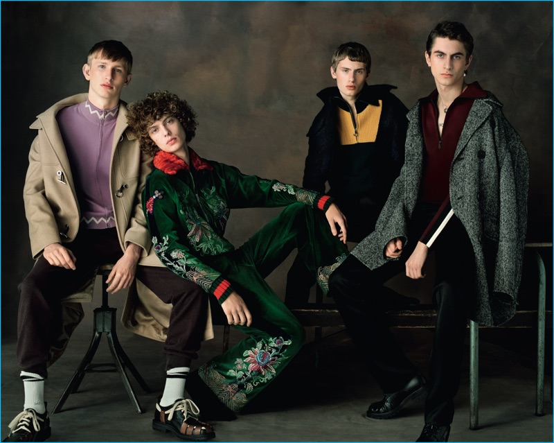 Left to Right: Conner wears all clothes Versace and shoes Prada. Leon wears all clothes Gucci and shoes Prada. Lemmie wears pants Burberry, jacket and sweater Carven. Henry wears all clothes Burberry and shoes Dries Van Noten.