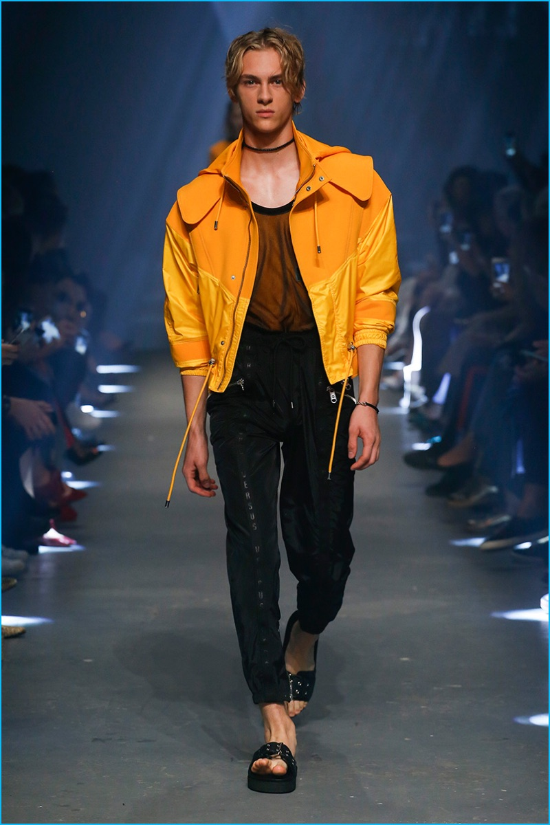 Versus Versace adds a pop of color with a bold mustard yellow jacket for spring-summer 2017.