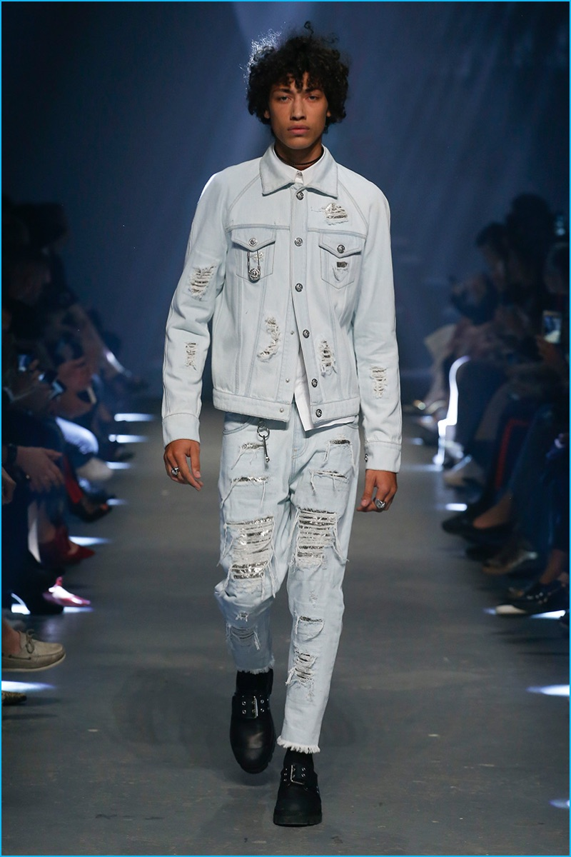 Versus Versace embraces ripped denim with aluminum mesh for spring-summer 2017.