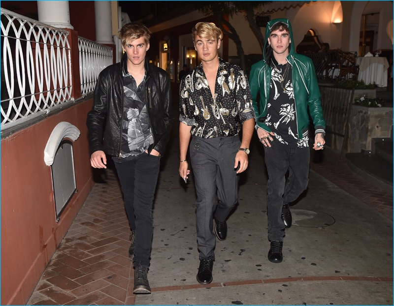 Behind the Scenes: Presley Gerber, Brandon Thomas Lee, and Gabriel-Kane Day-Lewis enjoy an evening out with Dolce & Gabbana for its spring-summer 2017 campaign.