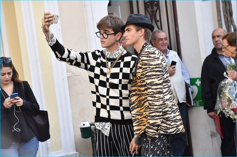 Gabriel-Kane Day-Lewis poses for a selfie with Presley Gerber in designs from Dolce & Gabbana's spring-summer 2017 collection.