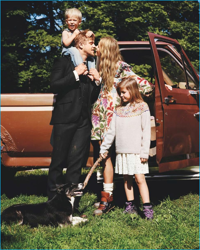 Playing a family man, Boyd Holbrook sports a J.Mueser suit with a Ralph Lauren shirt for Vogue.