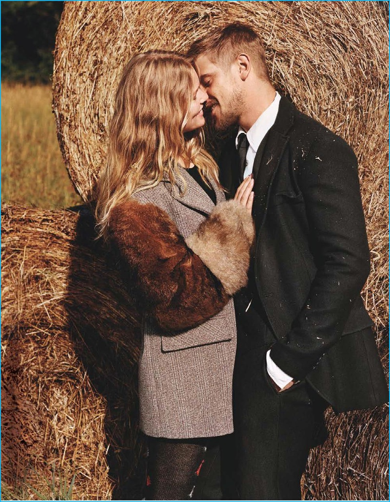 Flirting with Anna Ewers, Boyd Holbrook is pictured in tailored separates, styled by Michael Philouze for Vogue.