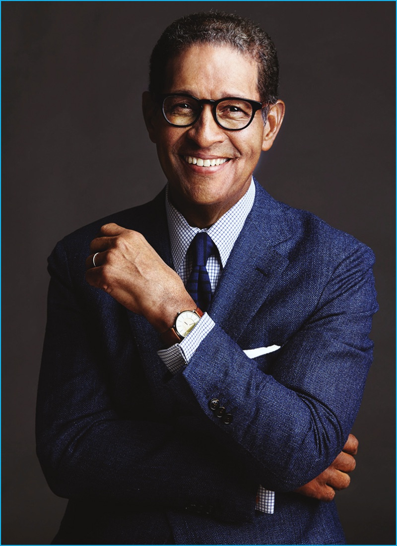Bryant Gumbel photographed by Timothy Greenfield-Sanders in Eyebobs' Take a Stand reading glasses.