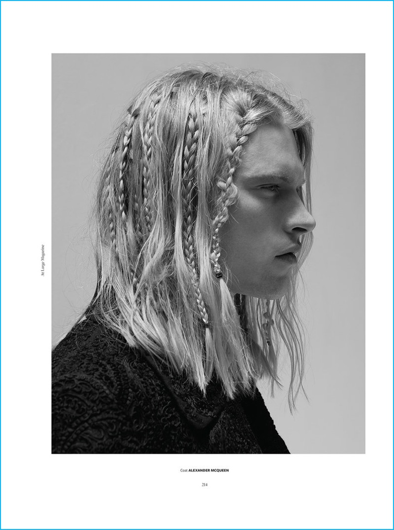 Carlton Ruth rocks a braided hairstyle for the pages of At Large magazine.
