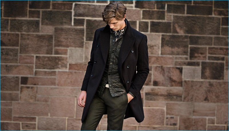 Matte and shine come together with Club Monaco's outfit proposal of a wool cashmere topcoat, quilted CPO shirt, slim dark floral shirt, and Sutton wool melange trousers.