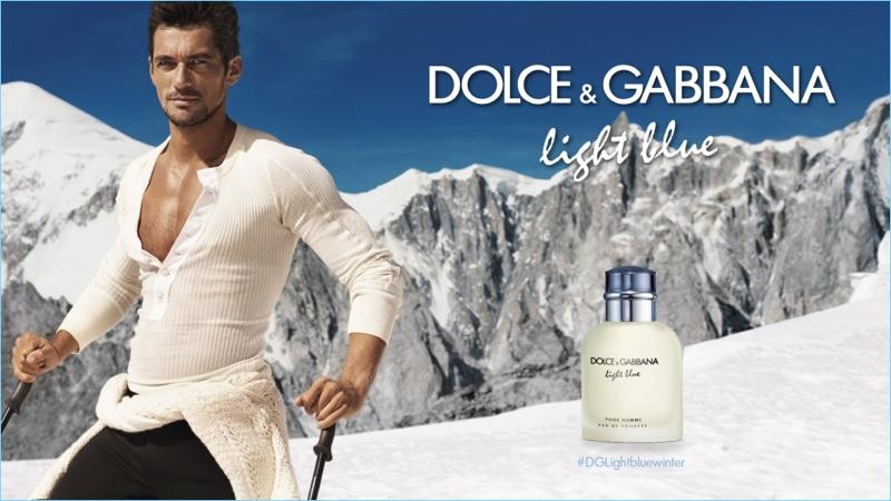 David Gandy hits the slopes for Dolce & Gabbana Light Blue's fragrance campaign.