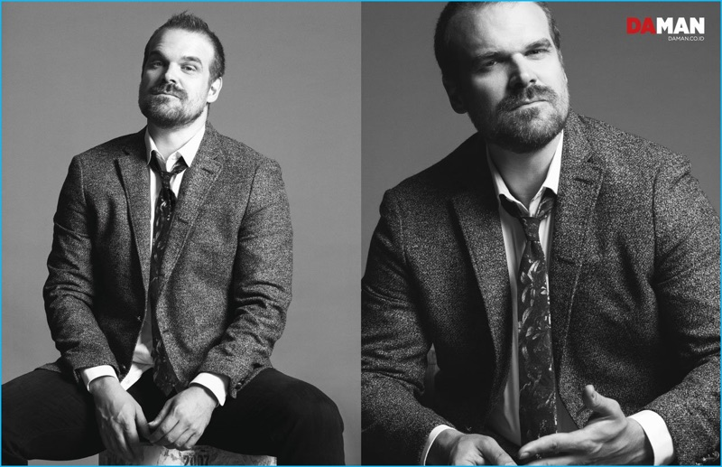 Stranger Things star David Harbour dons a blazer and shirt from John Varvatos Star USA. Harbour also sports an Eton tie and denim from AG Jeans.