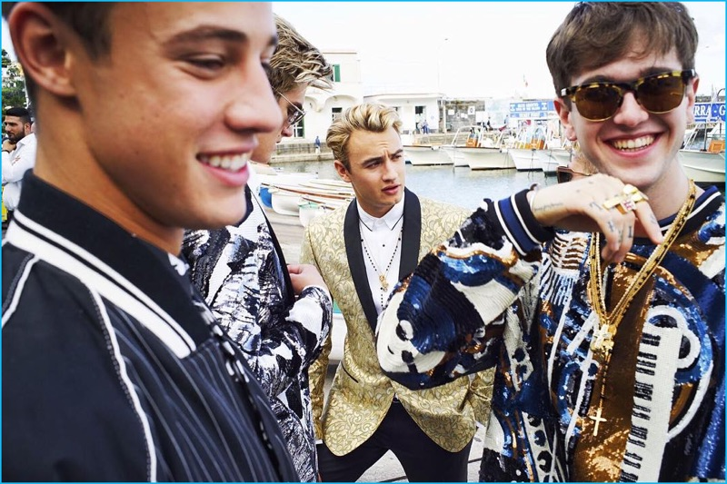 Dolce & Gabbana enlists Cameron Dallas, Gabriel-Kane Day-Lewis, Brandon Thomas Lee, and Presley Gerber for its spring-summer 2017 men's campaign.