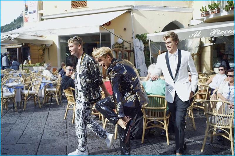 Rafferty Law, Brandon Thomas Lee, and Presley Gerber shoot Dolce & Gabbana's spring-summer 2017 campaign in Capri.