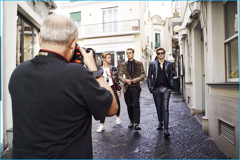 Taking to Capri, Cameron Dallas, Brandon Thomas Lee, and Presley Gerber walk the cobbled streets for Dolce & Gabbana's spring-summer 2017 campaign.
