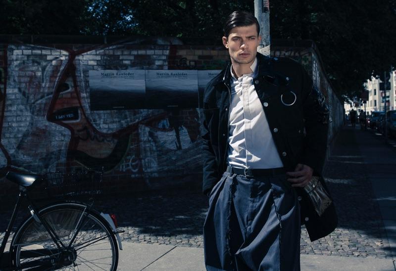 Eugen wears shirt Brachmann, pants Siyah, and jacket Cheap Monday.