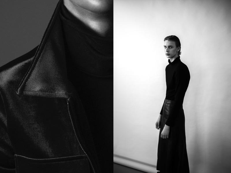 Left: Chris wears velvet jacket Zara and turtleneck sweater Calvin Klein. Right: Chris wears turtleneck sweater Calvin Klein and leather skirt stylist's own.