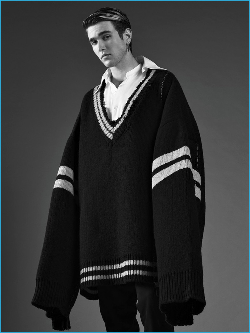 Appearing in ICON Panorama, Gabriel-Kane Day-Lewis wears an oversized Raf Simons sweater with a Prada shirt and Dior Homme trousers.