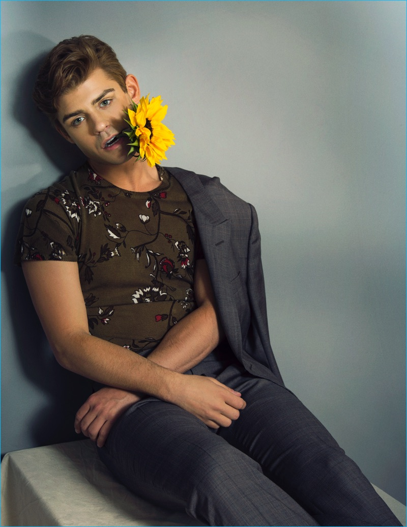 All pictures for garrett clayton - Donning A Floral Print Sweater From Zara Garrett Clayton Sports A Check Gucci Suit