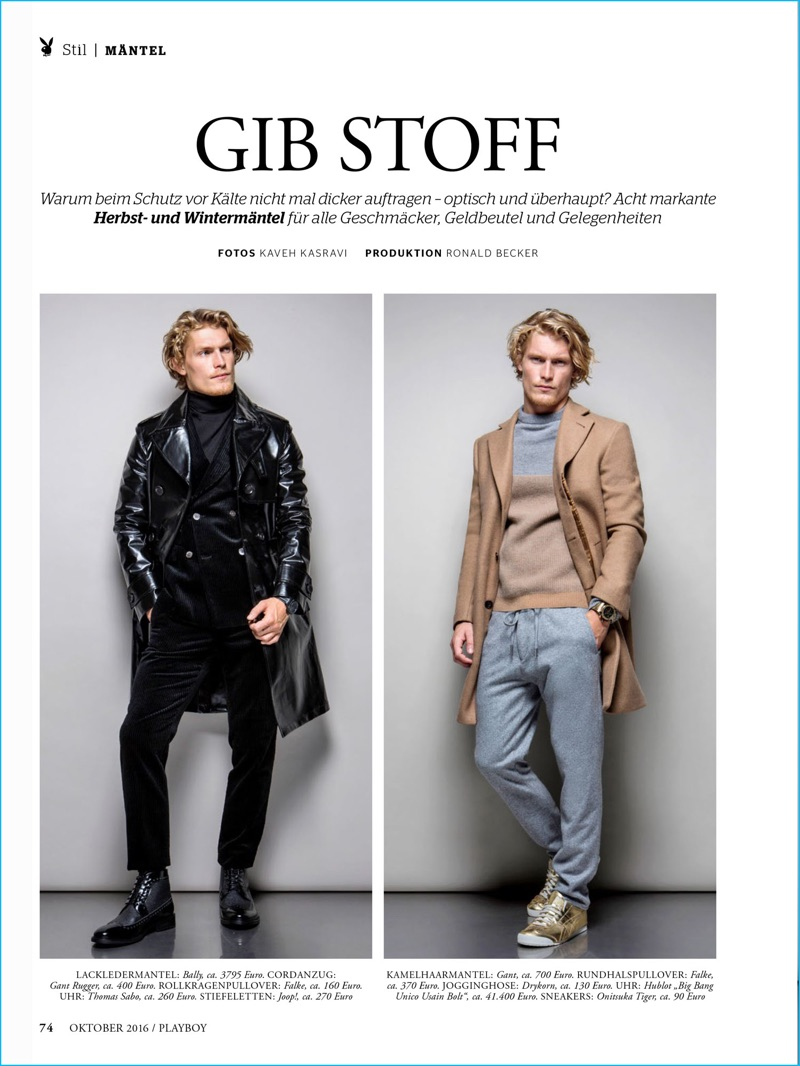 Model Harry Goodwins dons fashions from Bally, Joop!, Drykorn, and more for Playboy Germany.