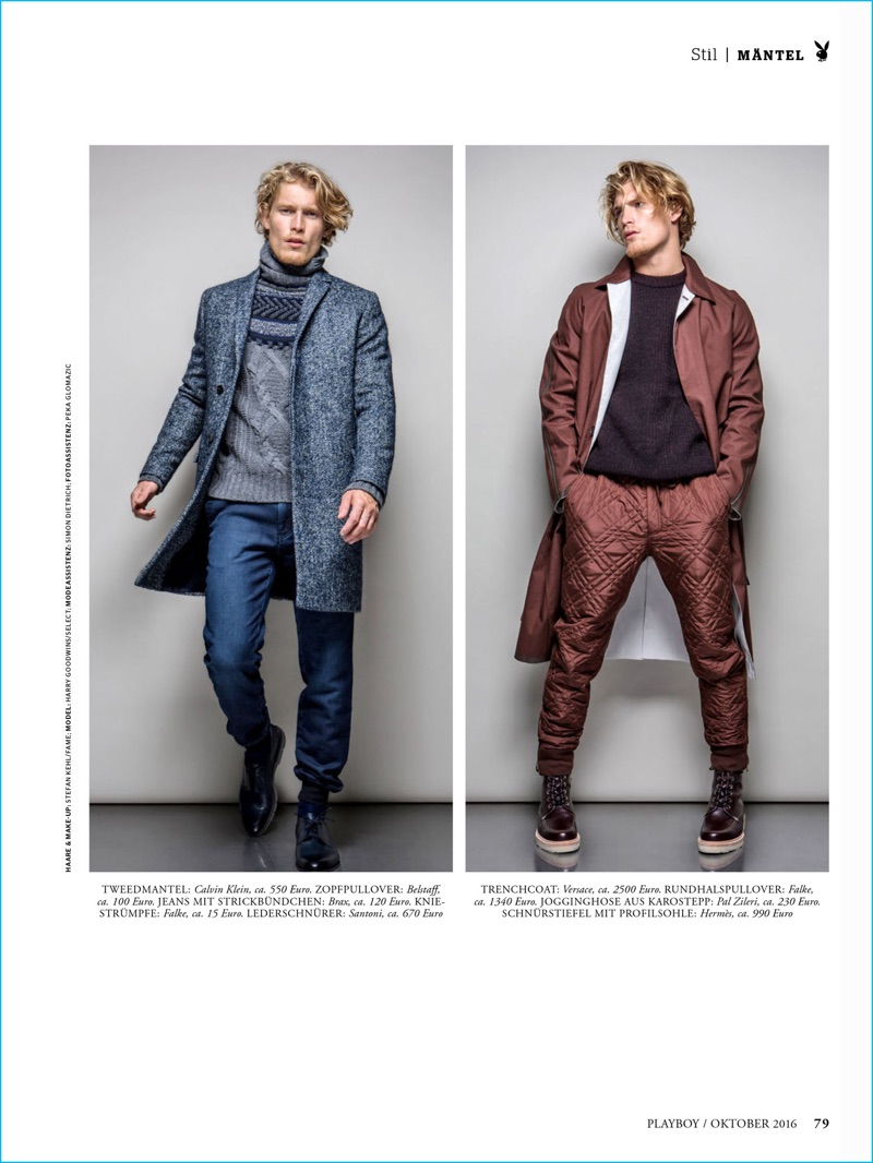 Kaveh Kasravi photographs Harry Goodwins in menswear from Calvin Klein, Belstaff, Pal Zileri, and more for Playboy Germany.