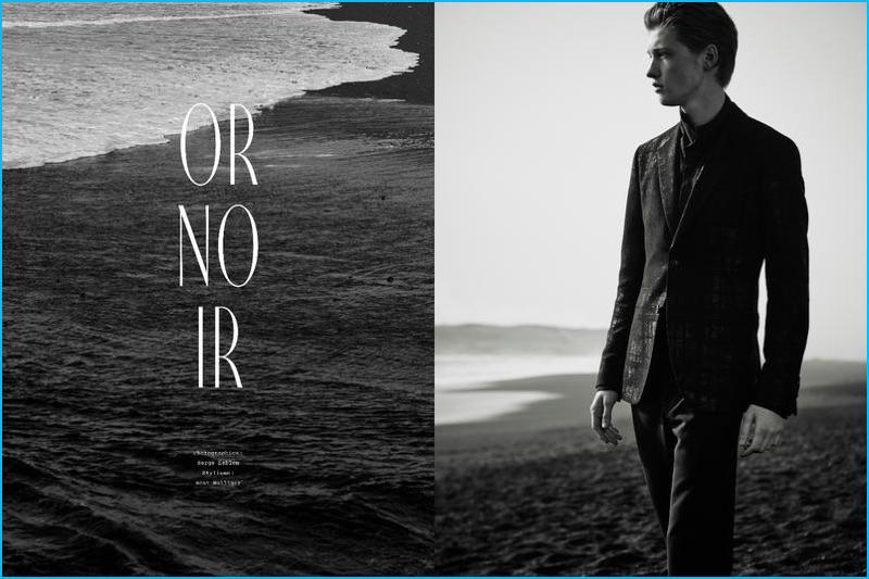 Serge Leblon photographs Liviu Scortanu in Hermès for the fall-winter 2016 edition of Le Monde d'Hermès.