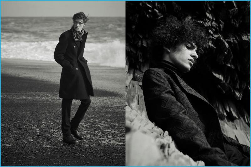 Models Liviu Scortanu and Tre Samuels star in a fall-winter 2016 editorial for Hermès.