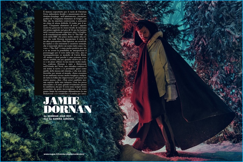 Appearing in L'Uomo Vogue, Jamie Dornan wears a Lemaire cape, complemented by Prada pieces.