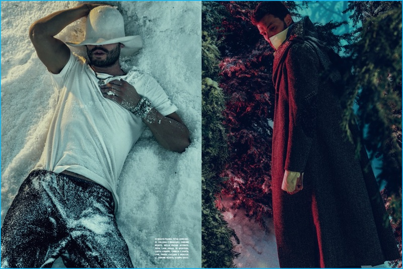 Wearing Gucci and Prada, Jamie Dornan stars in a photo shoot for L'Uomo Vogue.