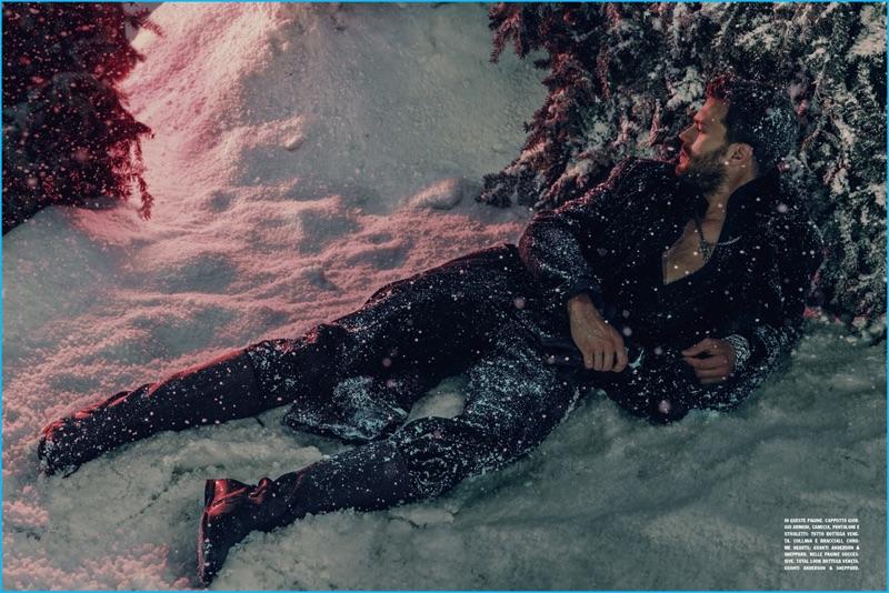 Actor Jamie Dornan wears Giorgio Armani and Bottega Veneta for his L'Uomo Vogue photo shoot.