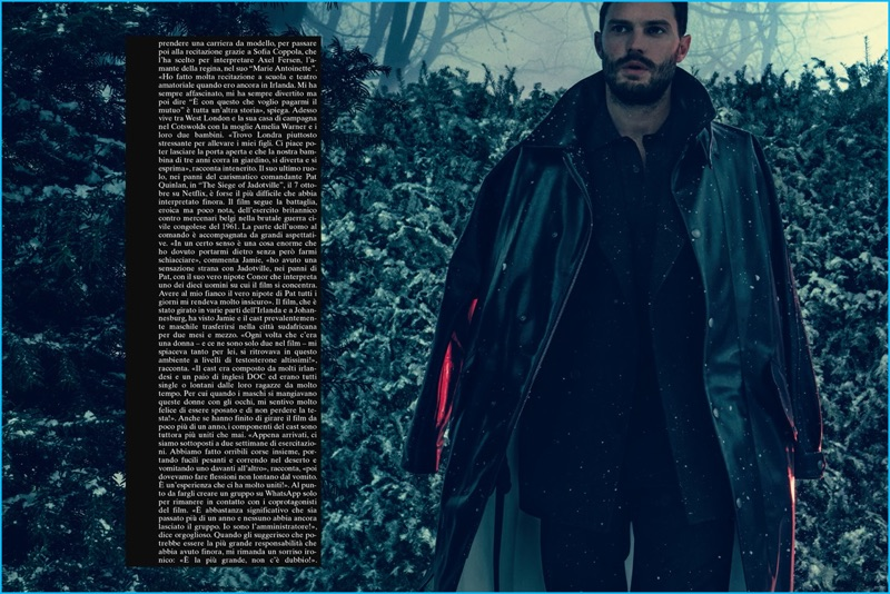 Embracing a moody demeanor, Jamie Dornan dons Bottega Veneta for the pages of L'Uomo Vogue.