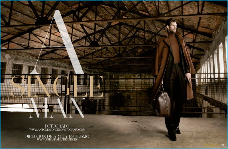 Donning a brown and black look, Jan Trojan wears Pal Zileri with Salvatore Ferragamo accessories.