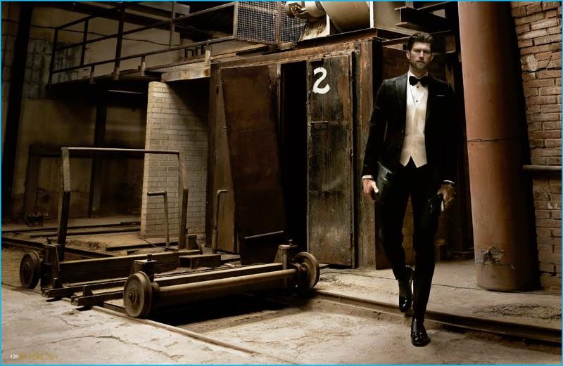 Model Jan Trojan cleans up in a Dsquared2 tuxedo.