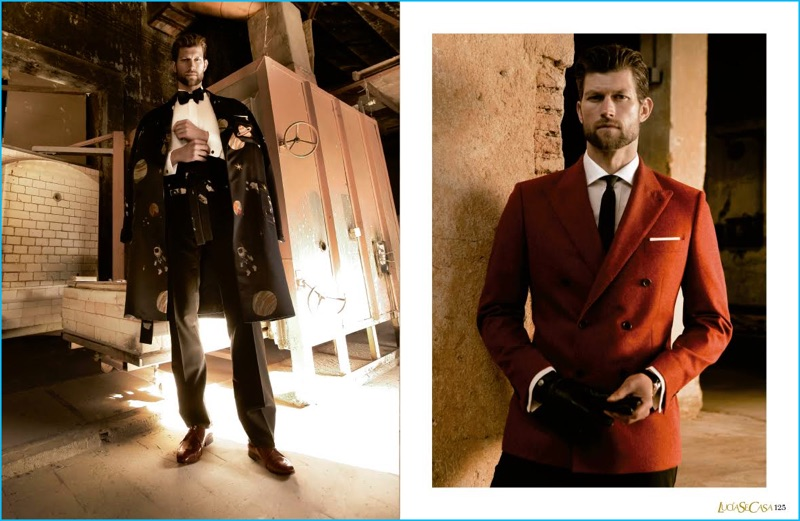Making a style statement, Jan Trojan is pictured left in a Caruso look. Right, Jan models fashions from Mirto.