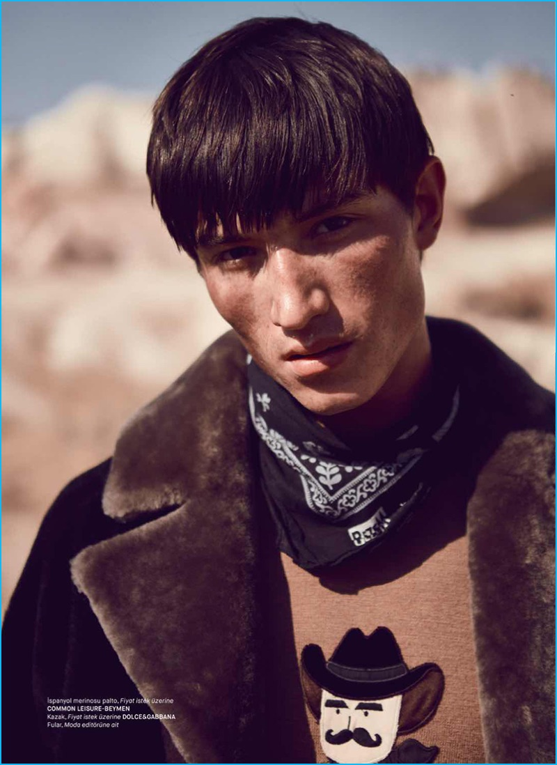 English model Jester White wears a western-inspired sweater from Dolce & Gabbana.