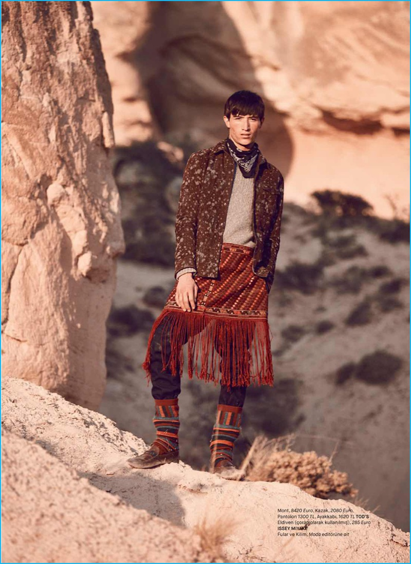 Appearing in an editorial for GQ Turkey, Jester White sports fashions from Tod's and Issey Miyake.