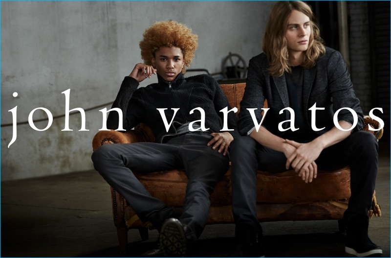 Michael Lockley and Nicola Wincenc relax in fall-winter 2016 fashions from John Varvatos.