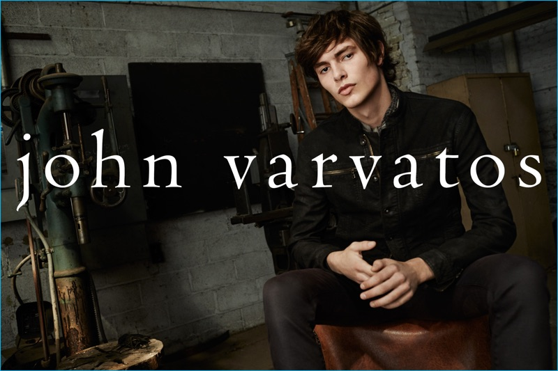 Nicholas Ronyai is front and center in trim fall fashions from John Varvatos.