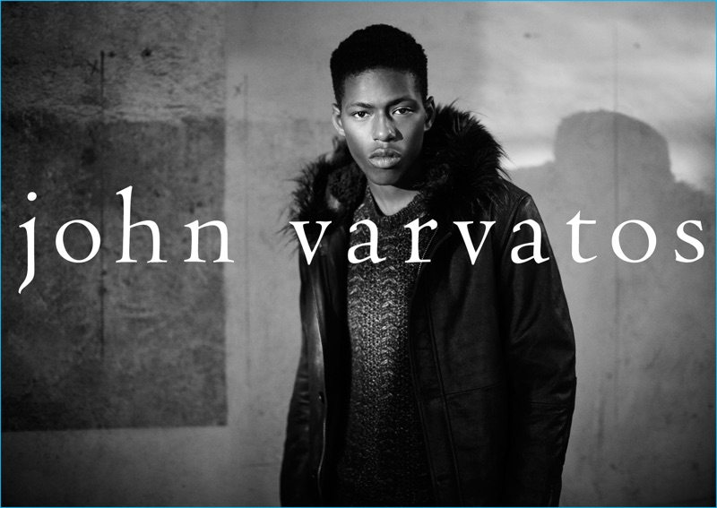 Sheani Gist wears a cable-knit sweater and parka from John Varvatos.