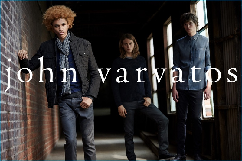 Michael Lockley, Nicola Wincenc, and Nicholas Ronyai star in a fall-winter 2016 outing from John Varvatos.