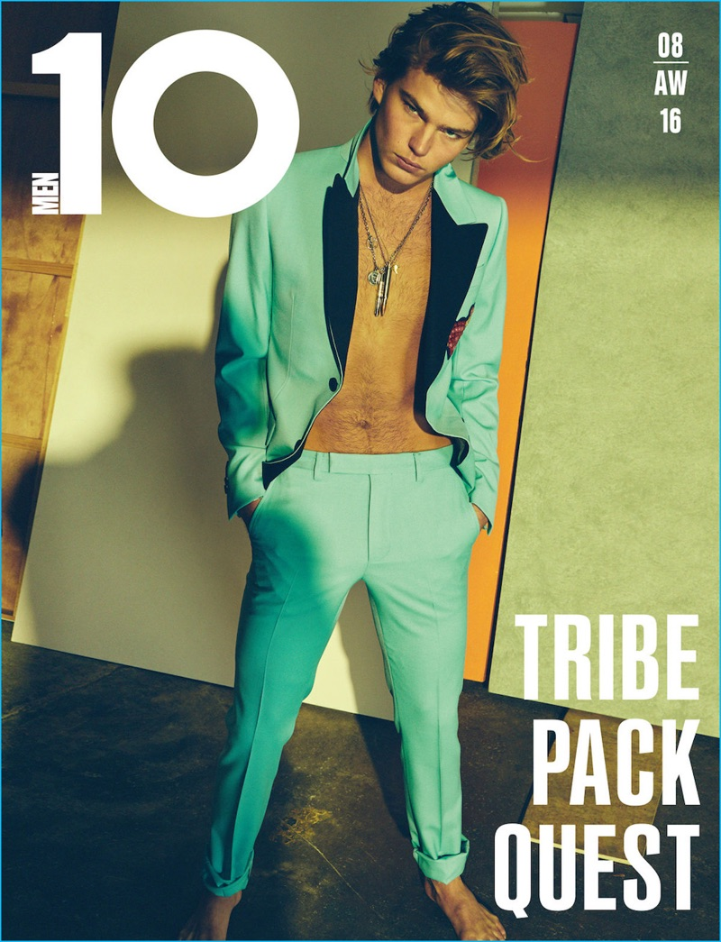 Jordan Barrett covers the fall-winter 2016 issue of 10 Men in a look from Italian fashion house Gucci.