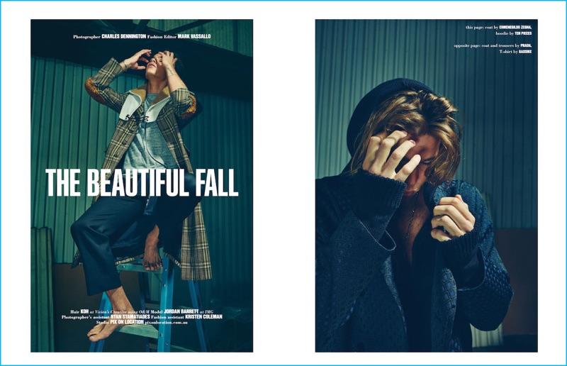 Australian model Jordan Barrett dons Prada and Ermenegildo Zegna for an editorial in 10 Men Australia.