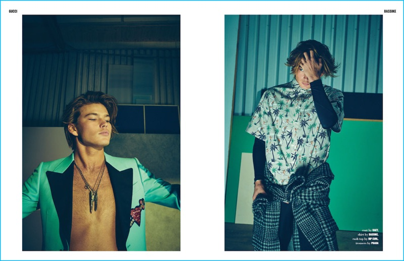 Offering a laid-back attitude, Jordan Barrett sports fashions from Gucci, Bassike, and more for 10 Men Australia.