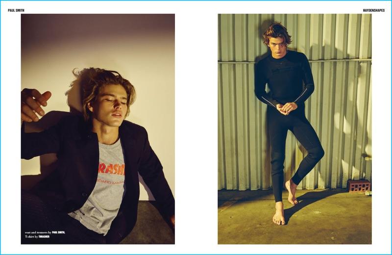 Mark Vassallo styles Jordan Barrett in casual fashions for 10 Men Australia.