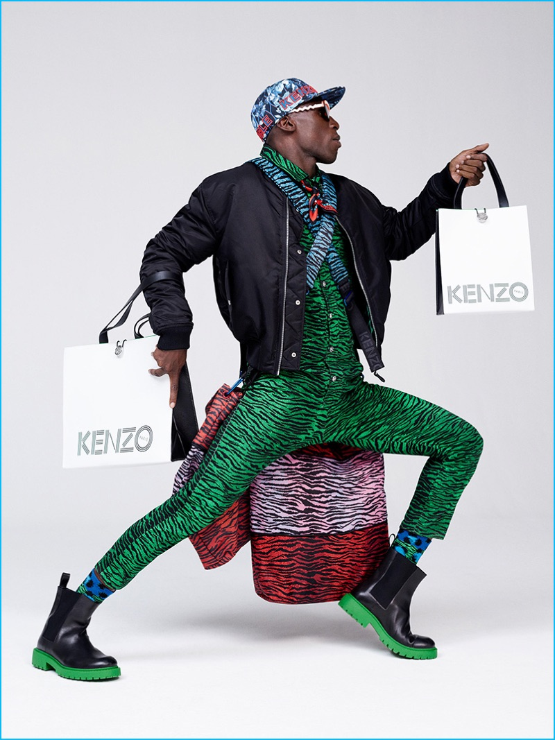 Making a green statement, Kenzo completes its bold H&M look with rubber boots.