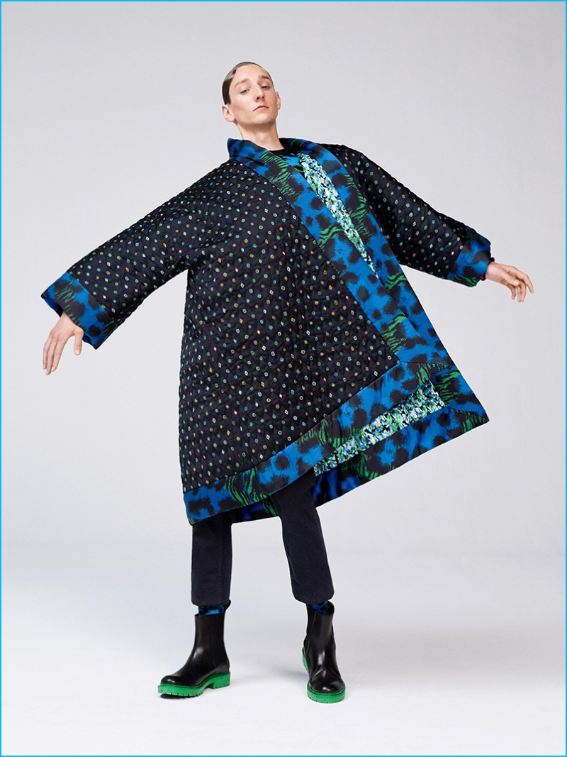 Oversized proportions adds a fun component to Kenzo's H&M collaboration with a must-have coat.