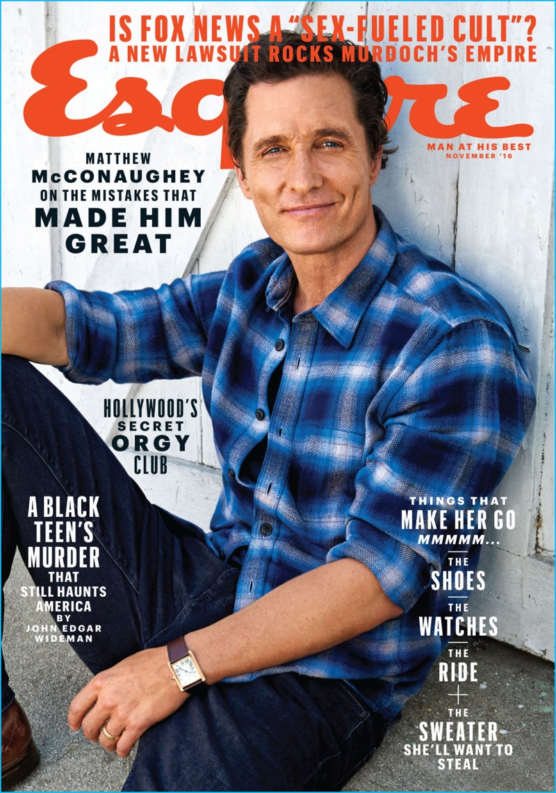 Matthew McConaughey covers the November 2016 issue of Esquire.
