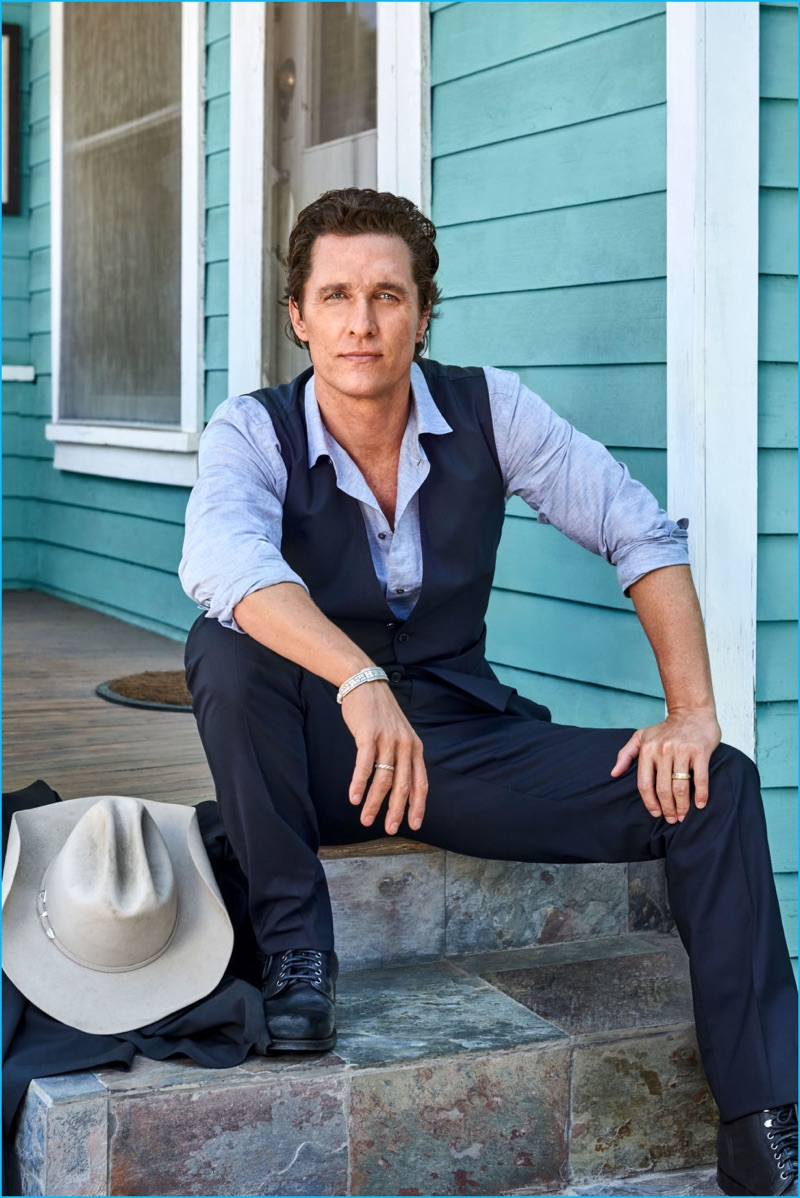 A brand ambassador for Dolce & Gabbana, Matthew McConaughey wears a waistcoat and trousers for his Esquire photo shoot.