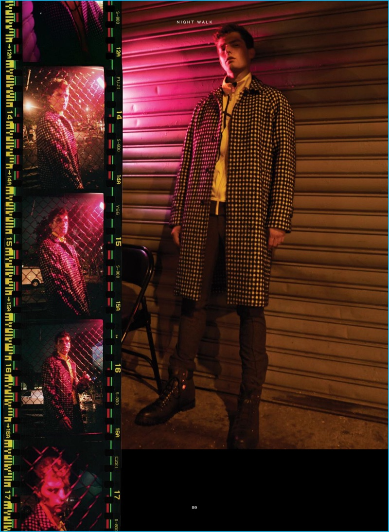 Danny Lim photographs Paolo Anchisi in a graphic Sandro coat with a yellow Puma track jacket as well as pants and leather boots from Michael Kors.