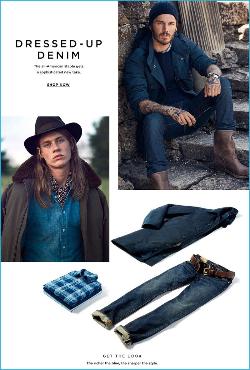 Pictured left to right, James Phillips and David Alexander Flynn rock fall denim from Polo Ralph Lauren.