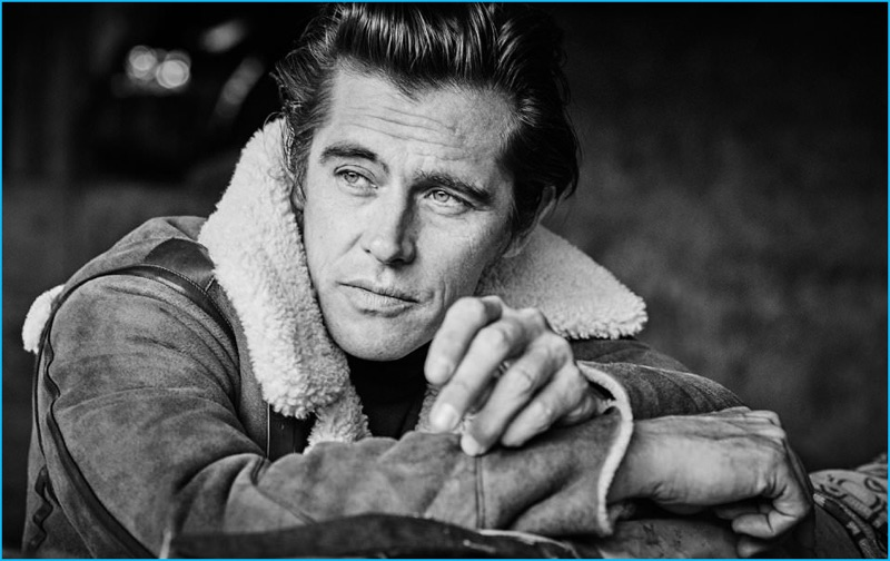Matthew Brookes photographs Werner Schreyer in a shearling coat and cashmere turtleneck sweater from Ralph Lauren Purple Label.