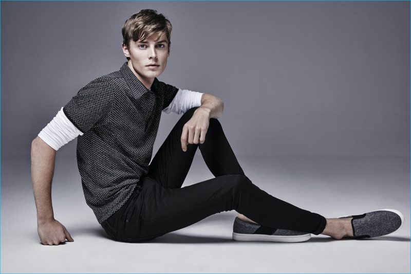 Janis Ancens is front and center in black jeans for River Island's fall-winter 2016 denim campaign.