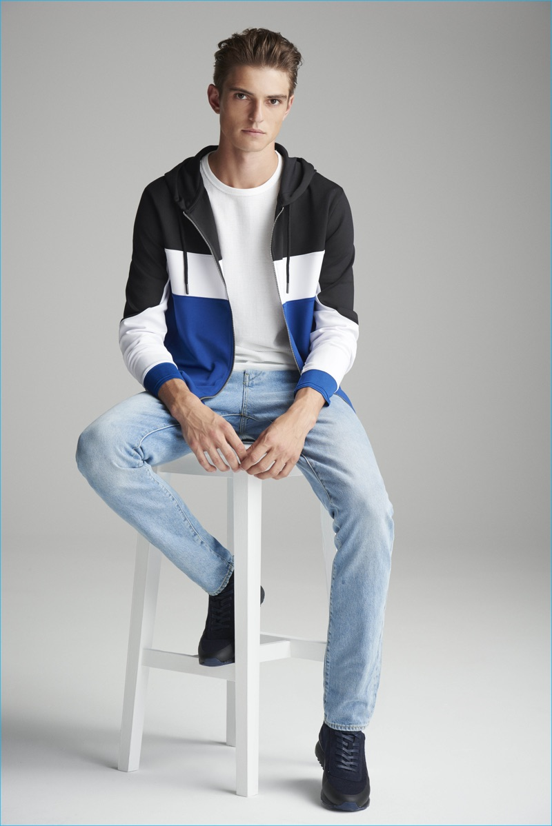 Guerrino Santulliana models casual fashions for River Island's fall-winter 2016 denim campaign.
